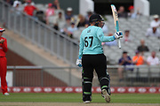 Lizelle Lee of the Surrey Stars reaches her 50 during the Women's Cricket Super League match between Lancashire Thunder and Surrey Stars at the Emirates, Old Trafford, Manchester, United Kingdom on 7 August 2018.
