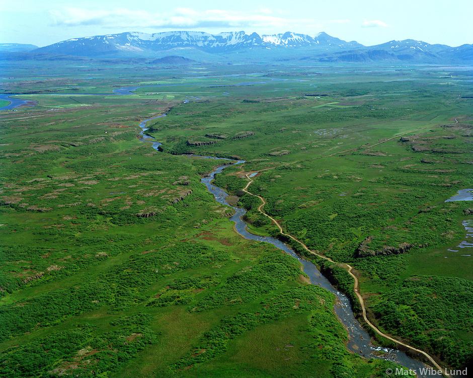 Gljúfurá séð til suðurs. Eyðibýlið Gljúfurá við tunið t.h.  Borgarbyggð áður Borgarhreppur / Gljufura river viewing south. Gljufura deserted farm was where the fields are in the right edge of the photo.. Borgarbyggd former Borgarhreppur
