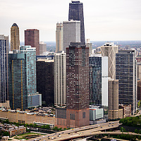 Chicago Aerial View with Hancock Building. High resolution aerial picture of downtown Chicago taken in 2013.