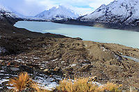 The beautiful Mueller Glacier lake at the head of the Kea Point Track in Mt Cook National Park on the South Island of New Zealand