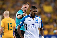 SYDNEY, NSW- NOVEMBER 15: Referee not happy with Honduras Bryan Beckeles (21) at the Soccer World Cup Qualifier between Australia and Honduras on November 10, 2017. (Photo by Steven Markham/Icon Sportswire)