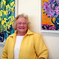 """Patricia Prendergast at the recent """" Burst into Bloom""""  art exhibition at Glór where her son, Tom Prendergast was one of the featured artists.<br /> Mary McGrath-Fahy"""