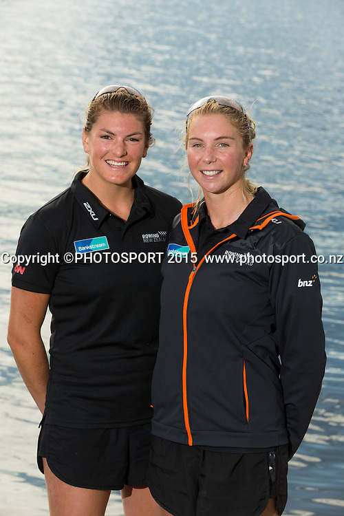 Women's Double Scull Eve Macfarlane and Zoe Stevenson at the Rowing NZ Media Day, Lake Karapiro, Cambridge, New Zealand, Wednesday 6 May 2015. Photo: Stephen Barker/Photosport.co.nz