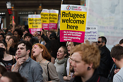 © Licensed to London News Pictures. 24/06/2016. LONDON, UK.  Demonstrators and supporters from Movement for Justice stage a protest against xenophobia, racism and anti-immigrant policies outside News UK (formerly News International) headquarters in London following the result of the European Referendum. Protesters believe the tone of anti-immigrant politics has been set by the mainstream media, including Rupert Murdoch publications and television.  Photo credit: Vickie Flores/LNP