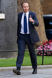 © Licensed to London News Pictures. 25/07/2019. London, UK. Health Secretary Matt Hancock arrives in Downing Street for the first meeting of the new Cabinet. Later today Prime Minister Boris Johnson will speak in the House of Commons.  Photo credit: George Cracknell Wright/LNP