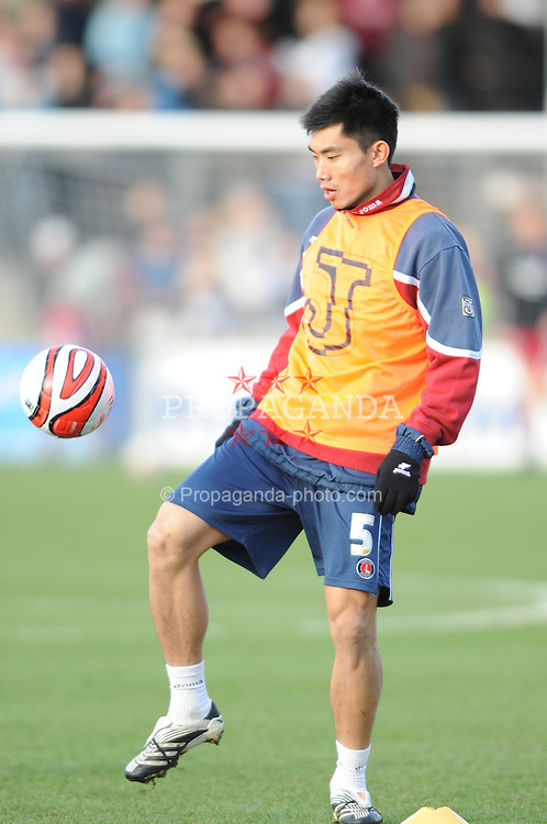 SCUNTHORPE, ENGLAND - Saturday, February 2, 2008: Charlton Athletic's Zheng Zhi warms-up before the League Championship match against Scunthorpe United at Glanford Park. (Photo by David Rawcliffe/Propaganda)