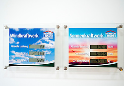 Display panel on wall showing energy produced by solar panels on modern highly energy efficient family house  in Germany