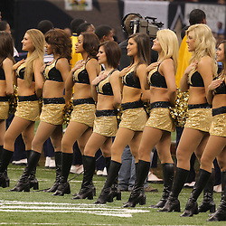 Jan 24, 2010; New Orleans, LA, USA; New Orleans Saints Saintsations cheerleaders line up for the national anthem prior to kickoff of a overtime victory by the New Orleans Saints over the Minnesota Vikings in the 2010 NFC Championship game at the Louisiana Superdome. Mandatory Credit: Derick E. Hingle-US PRESSWIRE