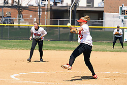05 April 2008: Kelsey Epping makes a pitch. The Carthage College Lady Reds lost the first game of this double header to the Titans of Illinois Wesleyan 4-1 at Illinois Wesleyan in Bloomington, IL