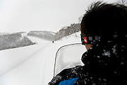 Resort staff lead the way during a snowmobile tour at Hanazono resort in Niseko, northern Japan on Feb. 6 2010. Though runs are not as long or extensive in comparison with some resorts in Europe and North America, their variety excels, offering beginner level runs through high advanced and off-piste options. There are also a number of non^ski/ snowboard options available.