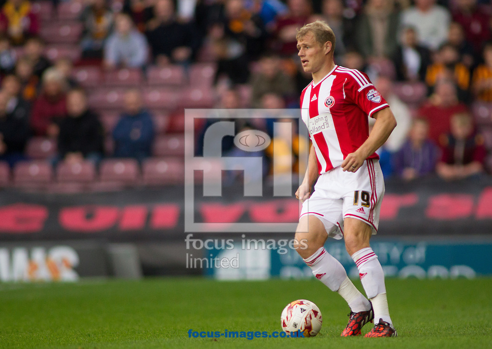 Jay McEveley of Sheffield United during the Sky Bet League 1 match at the Coral Windows Stadium, Bradford<br /> Picture by Stephen Gaunt/Focus Images Ltd +447904 833202<br /> 18/10/2014
