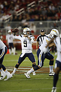 Los Angeles Chargers quarterback Nic Shimonek (9) in action during the 2018 NFL preseason week 4 football game against the San Francisco 49ers on Thursday, Aug. 30, 2018 in Santa Clara, Calif. The Chargers won the game 23-21. (©Paul Anthony Spinelli)