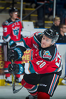 KELOWNA, CANADA - OCTOBER 13: Conner Bruggen-Cate #20 of the Kelowna Rockets warms up against the Calgary Hitmen on October 13, 2017 at Prospera Place in Kelowna, British Columbia, Canada.  (Photo by Marissa Baecker/Shoot the Breeze)  *** Local Caption ***