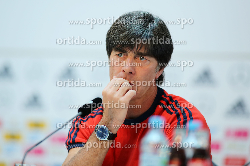 09.06.2015, Mercedes Center, Koeln, GER, FS Vorbereitung, Testspiel, Deutschland vs USA, Pressekonferenz, im Bild National-, Bundestrainer Joachim &quot;Jogi&quot; Loew // during a press conference prior to the international friendly football match between Germany and USA Mercedes Center in Koeln, Germany on 2015/06/09. EXPA Pictures &copy; 2015, PhotoCredit: EXPA/ Eibner-Pressefoto/ Schueler<br /> <br /> *****ATTENTION - OUT of GER*****