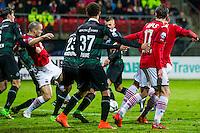 ALKMAAR - 20-02-2016, AZ - FC Groningen, AFAS Stadion, 4-1, AZ speler Ron Vlaar scoort hier de 2-0, doelpunt.
