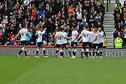 Celebrations as Derby forward Johnny Russell scores the opening goal during the Sky Bet Championship match between Derby County and Bolton Wanderers at the iPro Stadium, Derby, England on 9 April 2016. Photo by Aaron  Lupton.
