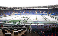 © Andrew Fosker / Seconds Left Images 2012 - Groundstaff try and clear the pitch of snow prior to  Italy v England 11/02/2012 - RBS 6 Nations - Stadio Olimpico - Rome - Italy -  All rights reserved