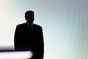 July 18, 2016 - Cleveland, Ohio: Donald Trump stands at the back of the stage before introducing his wife Melania Trump at the 2016 Republican National Convention.