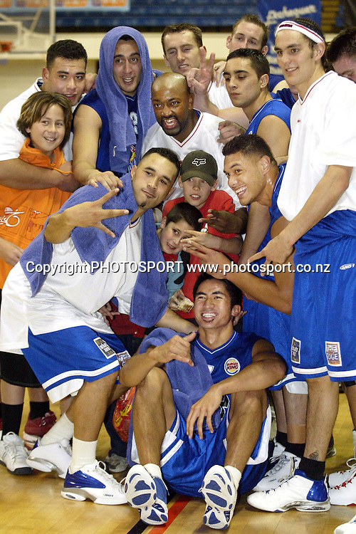 31 May 2003, Wellington Event Centre Wellington, NBL Basketball, Wellington Saints vs Taranaki Mountain Airs.<br />Wellington Saints and suporters.<br />Pic: Marty Melville/Photosport