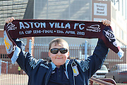Proud Villa fan/supporter during the Barclays Premier League match between Aston Villa and Tottenham Hotspur at Villa Park, Birmingham, England on 13 March 2016. Photo by Simon Davies.