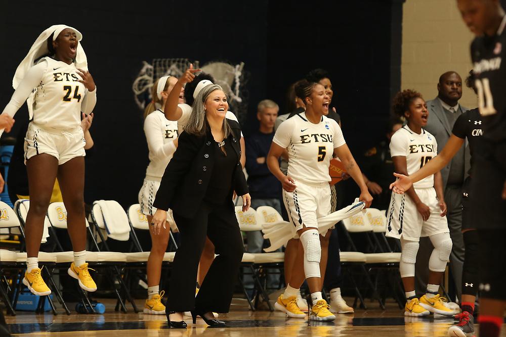 November 10, 2017 - Johnson City, Tennessee - Brooks Gym: ETSU head coach Brittney Ezell<br /> <br /> Image Credit: Dakota Hamilton/ETSU