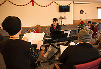 "Patrick Durow's tech session for ""Home for the Holidays"" Christmas musical.  Karen Bobotas for the Laconia Daily Sun"