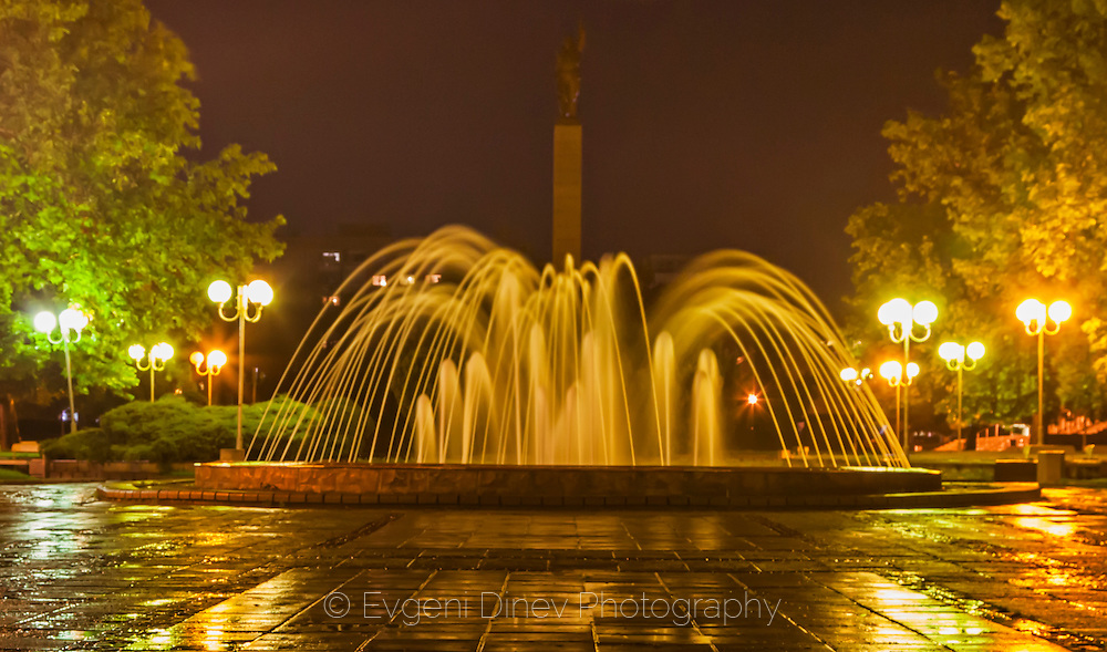 City of Burgas in rainy spring night