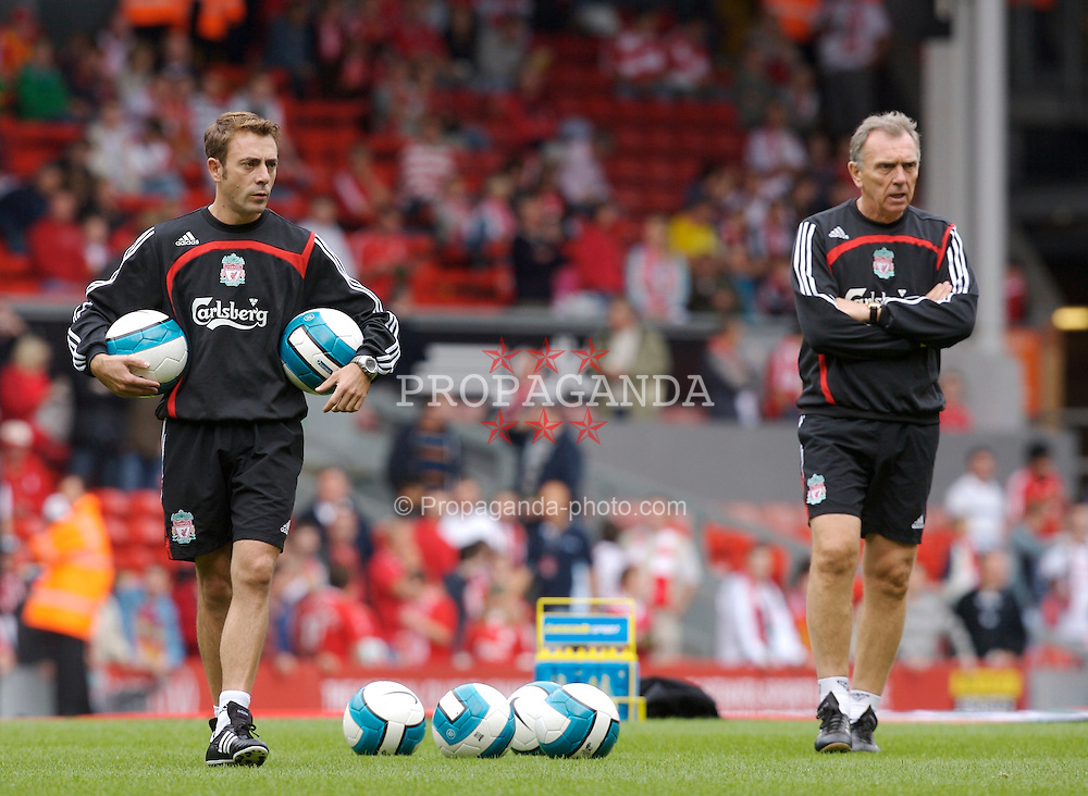 Liverpool, England - Saturday, September 1, 2007: Liverpool's new assistant manager Paco De Miguel with first team coach Alex Miller before the Premiership match against Derby County at Anfield. (Photo by David Rawcliffe/Propaganda)
