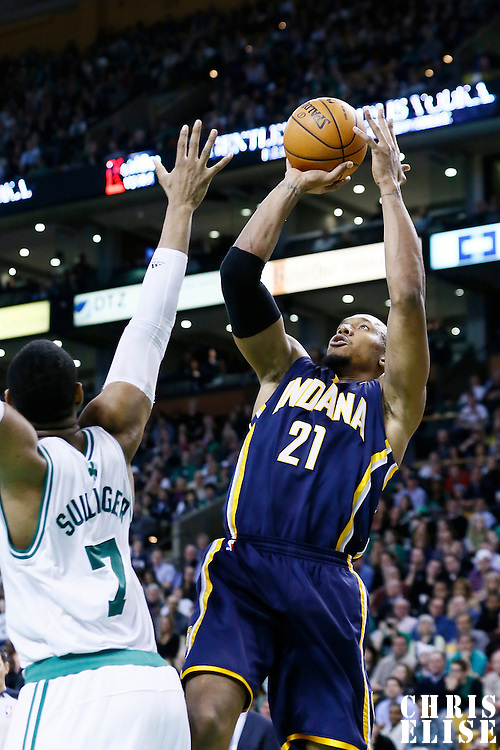 04 January 2013: Indiana Pacers power forward David West (21) takes a jumpshot over Boston Celtics power forward Jared Sullinger (7) during the Boston Celtics 94-75 victory over the Indiana Pacers at the TD Garden, Boston, Massachusetts, USA.