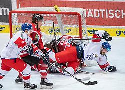 13.04.2019, Keine Sorgen Eisarena, Linz, AUT, Euro Hockey Challenge, Österreich vs Tschechien, Länderspiel, im Bild v.l. Patrik Zdrahal (CZE), Verteidiger Philipp Lindner (AUT), Tormann David Kickert (AUT), Simon Stransky (CZE) // during the international friendly match between Austria and Czech Republic, as part of the Euro Hockey Challenge at the Keine Sorgen Eisarena in Linz, Austria on 2019/04/13. EXPA Pictures © 2019, PhotoCredit: EXPA/ Reinhard Eisenbauer