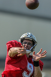 July 28, 2018 - New Orleans, LA, U.S. - METAIRIE, LA. - JULY 28:  New Orleans Saints quarterback Drew Brees (9) runs through a drill during New Orleans Saints training camp practice on July 28, 2018 at the Ochsner Sports Performance Center in New Orleans, LA.  (Photo by Stephen Lew/Icon Sportswire) (Credit Image: © Stephen Lew/Icon SMI via ZUMA Press)