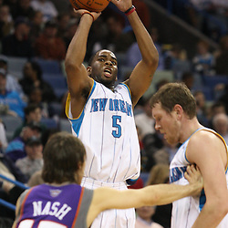 Feb 01, 2010; New Orleans, LA, USA; New Orleans Hornets guard Marcus Thornton (5) shoots a three pointer over Phoenix Suns guard Steve Nash (13) during the second half at the New Orleans Arena.The Suns defeated the Hornets 109-100. Mandatory Credit: Derick E. Hingle-US PRESSWIRE