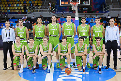 Players of Slovenia prior to the basketball match between National Teams of Slovenia and Australia in Round 1 of Group D of FIBA Basketball World Cup Spain 2014, on August 30, 2014 in Gran Canaria Arena, Las Palmas, Canary Islands. Photo by Tom Luksys  / Sportida.com <br /> ONLY FOR Slovenia, France