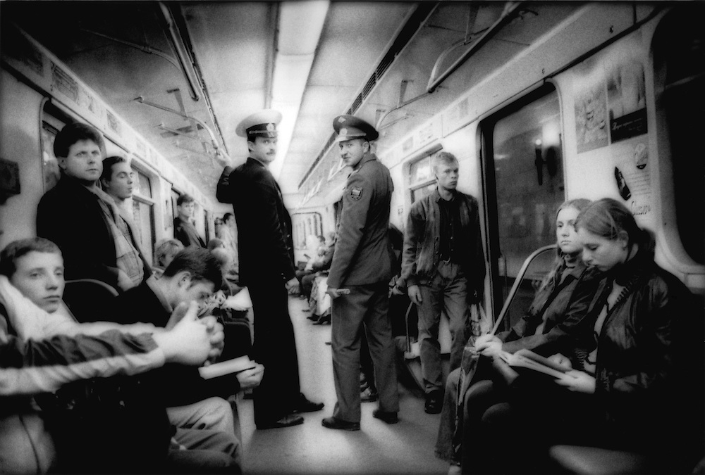Military officers on the Moscow Metro, Russia.