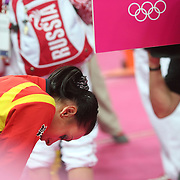 Catalina Ponor, Romania, after losing the bronze madam place on a challenge in the Women's Gymnastics Apparatus Beam final at North Greenwich Arena during the London 2012 Olympic games London, UK. 7th August 2012. Photo Tim Clayton