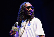 LONDON, ENGLAND - JULY 18:  Snoop Dogg performs live on the Main Stage during day two of Lovebox Festival 2015 at Victoria Park on July 18, 2015 in London, England.  (Photo by Simone Joyner/WireImage)