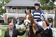MISTER BELVEDERE (4) ridden by Miss Sophie Dodds and trained by her father Michael Dods come back to the Winners Enclosure after winning The Queen Mothers Cup (for Lady Amateur Riders) over 1m 4f (£20,000)during the Macmillan Charity Raceday at York Racecourse, York, United Kingdom on 16 June 2018. Picture by Mick Atkins.