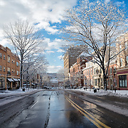 Snow and sunshine on a quiet Main Street