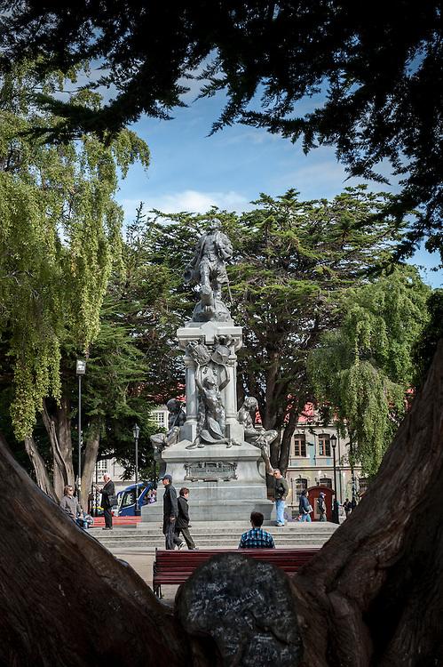 Hernando de Magallanes Monument in park Punta Arenas Chile