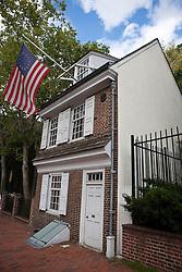 Betsy Ross House, with original US flag hanging, Philadelphia, Pennsylvania, United States of America