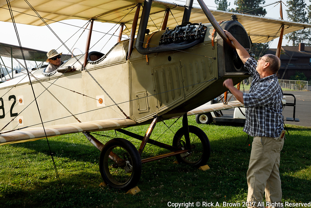Starting the engine on the Curtiss JN-4D at the 2017 Hood River Fly-In.