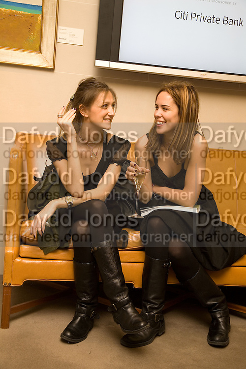 MARINA BURY; MYRTO MITROPOULOU; Preview of Greek Sale sponsored by Citibank. Sotheby's. New Bond st. London. 10 November 2008 *** Local Caption *** -DO NOT ARCHIVE -Copyright Photograph by Dafydd Jones. 248 Clapham Rd. London SW9 0PZ. Tel 0207 820 0771. www.dafjones.com