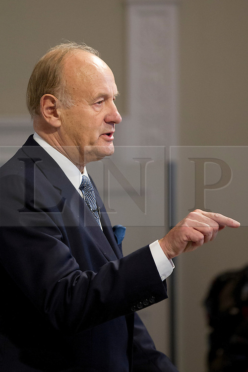 © Licensed to London News Pictures. 25/11/2013. London, UK. Former chief commissioner of the Metropolitan Police Service, Sir John Stevens, is seen presenting the recommendations of the Independent Commission on the future of Policing in England and Wales, at the Royal Society of Arts in London today (25/11/2013). Photo credit: Matt Cetti-Roberts/LNP