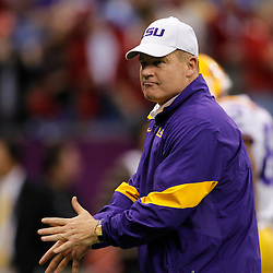 Jan 9, 2012; New Orleans, LA, USA; LSU Tigers head coach Les Miles before the 2012 BCS National Championship game against the Alabama Crimson Tide at the Mercedes-Benz Superdome.  Mandatory Credit: Derick E. Hingle-US PRESSWIRE