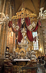 Prague, Czech Republic:  A monument to artistry in pure silver, the Tomb of St. John of Nepomuk is said to contain more than a ton of silver.  Located at the side of the Apse, St. Vitus Cathedral (Katedrala Sv. Vita) within the Castle Square complex.