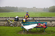 Cyclists Resting During Paris Brest Paris Endurance Event - France