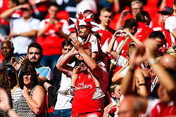 Arsenal fans celebrate after winning the penalty shootout to lift the Community Shield - Rogan Thomson/JMP - 06/08/2017 - FOOTBALL - Wembley Stadium - London, England - Arsenal v Chelsea - FA Community Shield.