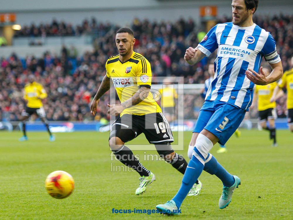 Andre Gray of Brentford and Gordon Greer of Brighton and Hove Albion during the Sky Bet Championship match between Brighton and Hove Albion and Brentford at the American Express Community Stadium, Brighton and Hove<br /> Picture by Mark D Fuller/Focus Images Ltd +44 7774 216216<br /> 17/01/2015