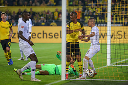 DORTMUND, Sept. 15, 2018  Diallo of Borussia Dortmund celebrates after scoring during the Bundesliga match between Borussia Dortmund and Eintracht Frankfurt at Signal Iduna Park in Dortmund, Germany, on Sept. 14, 2018. Dortmund won 3-1. (Credit Image: © Joachim Bywaletz/Xinhua via ZUMA Wire)