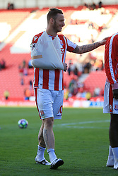 13th May 2017 - Premier League - Stoke City v Arsenal - Marko Arnautovic of Stoke ends the match with his arm in a sling - Photo: Simon Stacpoole / Offside.